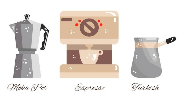 Conjunto de métodos retrô de preparação de café
