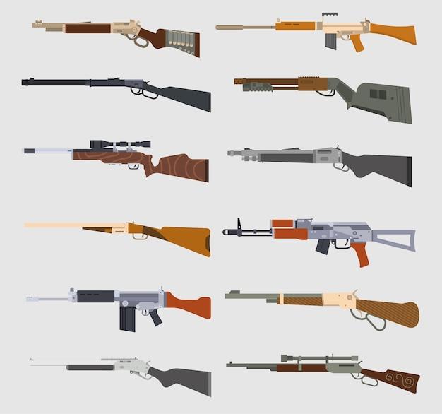 Conjunto de metralhadoras isoladas em azul claro