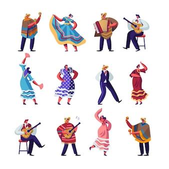 Conjunto de mexicanos em roupas tradicionais coloridas
