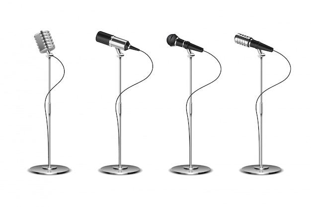 Conjunto de microfone. microfones de pé equipamentos de áudio. coleção de microfones de música conceito e karaokê isolado