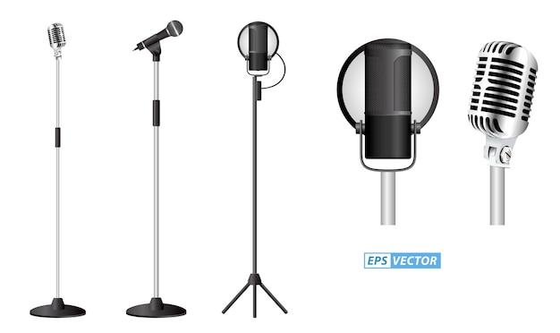 Conjunto de microfone realista mic em pé no pódio conceito de microfone clássico conjunto eps vetor