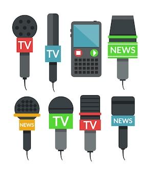 Conjunto de microfones. ilustração plana