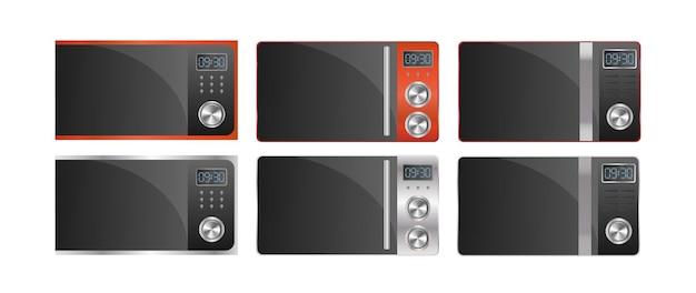 Conjunto de microondas modernas. micro-ondas elegante isolado em um fundo branco. vetor realista.