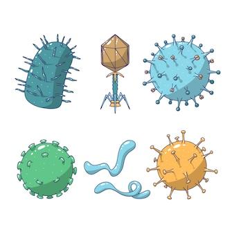 Conjunto de microrganismo mão desenhada
