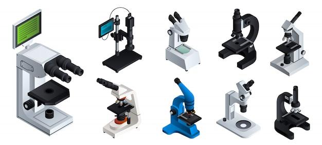 Conjunto de microscópio. isométrico conjunto de microscópio