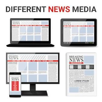 Conjunto de mídia de notícias diferentes
