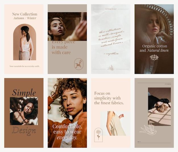Conjunto de mídia social de modelo editável de moda