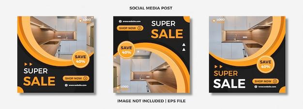 Conjunto de mídia social moderna modelo de postagem.