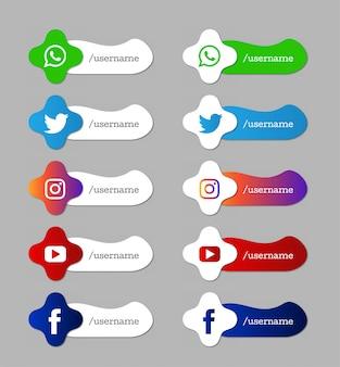 Conjunto de mídia social moderno inferior terceiro ícones