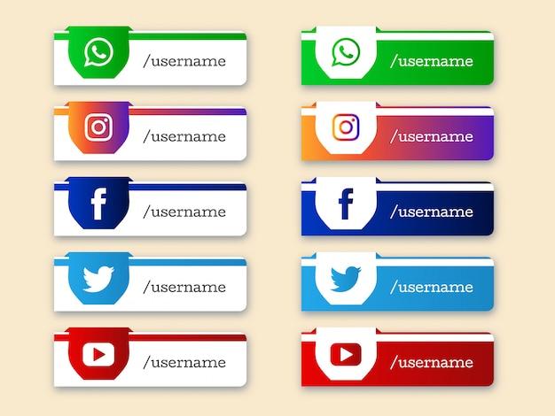 Conjunto de mídias sociais inferior terceiro ícones