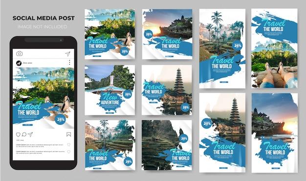 Conjunto de mídias sociais viagens modelo de escova de férias de férias post feed