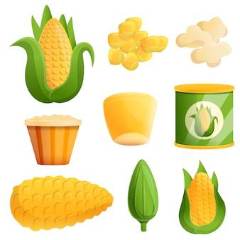 Conjunto de milho, estilo cartoon