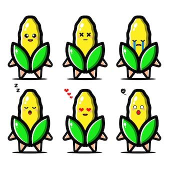Conjunto de milho fofo com personagem de desenho animado de expressão