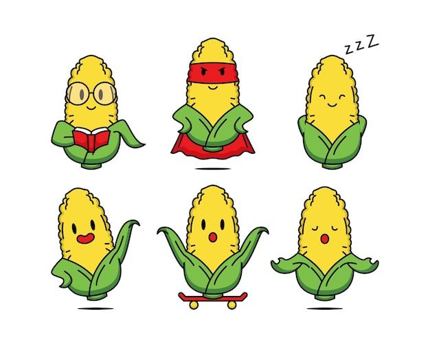 Conjunto de milho fofo com pose engraçada