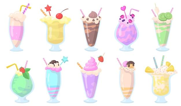 Conjunto de milkshakes exóticos em copos com canudos de item plano