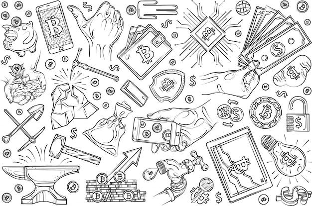 Conjunto de mineração de criptomoeda de mão desenhada doodle fundo