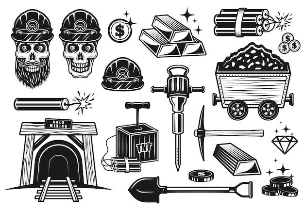 Conjunto de mineração de ouro e escavação de tesouros de objetos vetoriais ou elementos de design em estilo vintage monocromático isolado no fundo branco