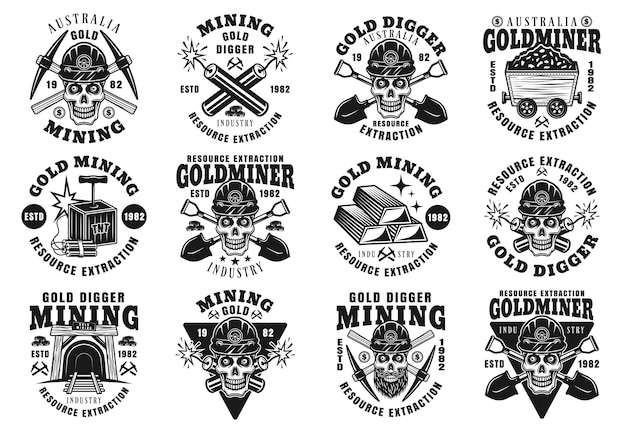Conjunto de mineração de ouro e extração de recursos de doze emblemas monocromáticos de vetor, emblemas, etiquetas ou logotipos em estilo vintage, isolado no fundo branco