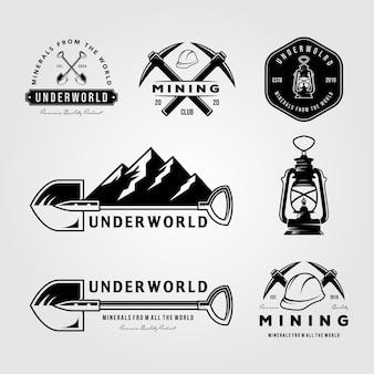 Conjunto de mineração logotipo vintage emblema distintivo retrô