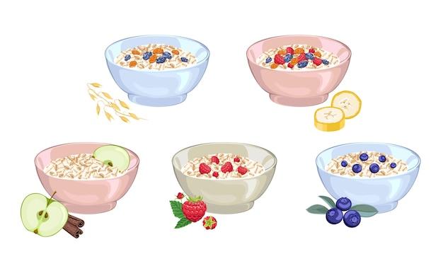Conjunto de mingau de leite de aveia em uma tigela com diferentes frutas e bagas