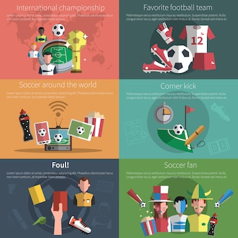 Conjunto de mini banner de futebol