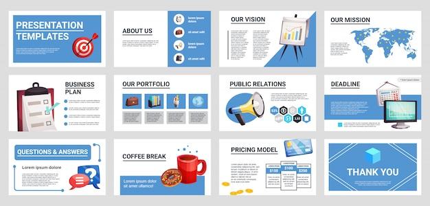 Conjunto de mini banners de apresentação de negócios