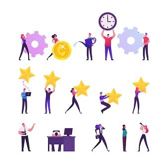 Conjunto de minúsculos personagens masculinos e femininos com enorme roda dentada, moeda de ouro e relógio, estrelas de classificação e regador