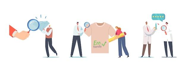 Conjunto de minúsculos personagens masculinos e femininos com enormes roupas brilhantes e ecológicas, cientistas em jalecos brancos discutindo o líquido no tubo de ensaio. conceito de qualidade. ilustração em vetor desenho animado