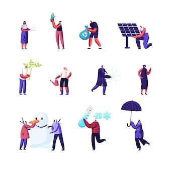 Conjunto de minúsculos personagens masculinos e femininos usa energia verde e coleta de lixo para reciclagem.