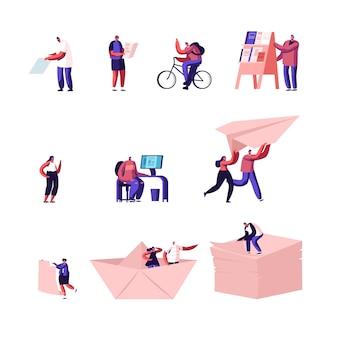 Conjunto de minúsculos personagens, viajando em país estrangeiro com mapa, mochileiro, bicicleta e homem na banca de jornal.