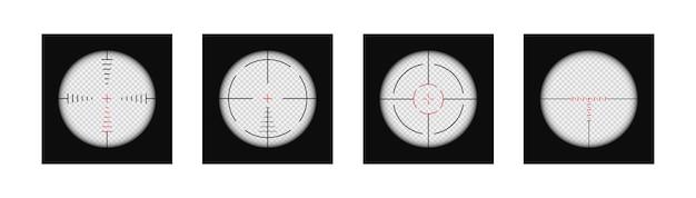 Conjunto de mira realista de mira de atirador de elite