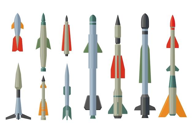 Conjunto de mísseis de desenho animado e ilustração plana de foguetes