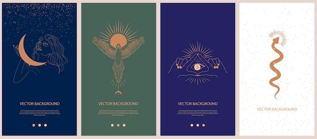 Conjunto de mitologia e ilustrações místicas