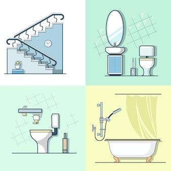Conjunto de mobília do elemento interior interior da escada do banheiro do banheiro ícones de contorno de traço linear.