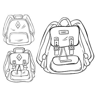 Conjunto de mochila com mão desenhada ou estilo esboçado