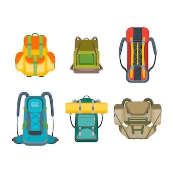 Conjunto de mochila de acampamento turístico. coleção de bolsas de caminhada. design plano