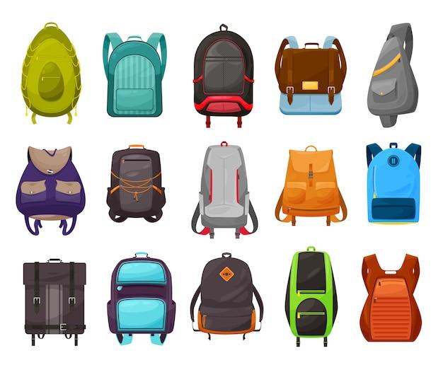 Conjunto de mochila e mochila escolar de meninos. mochila de desenho animado isolada, mochila e mochila de estudantes do sexo masculino, material escolar com bolsos com zíper, fivelas, ganchos giratórios e argolas para pendurar