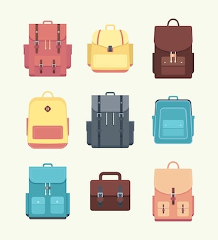 Conjunto de mochila escolar. bolsas e mochilas para livros didáticos. ilustração vetorial plana
