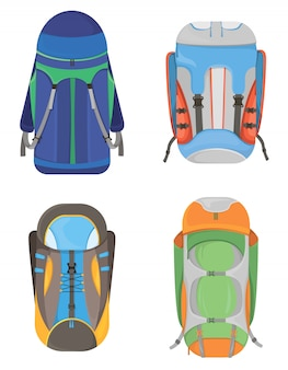 Conjunto de mochilas de acampamento. malas de viagem em estilo cartoon.