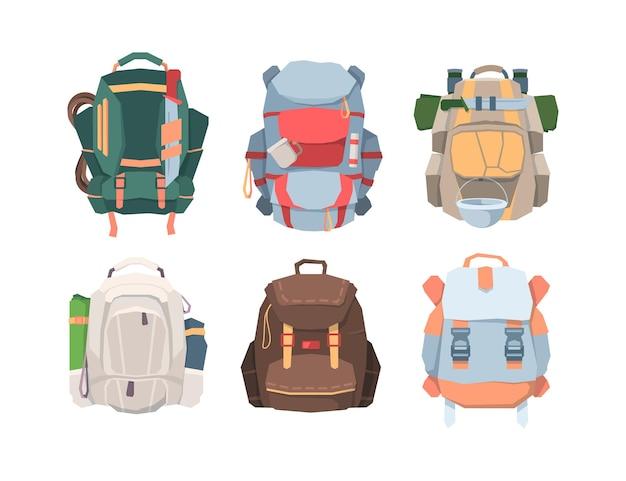 Conjunto de mochilas de acampamento