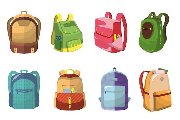 Conjunto de mochilas escolares coloridas