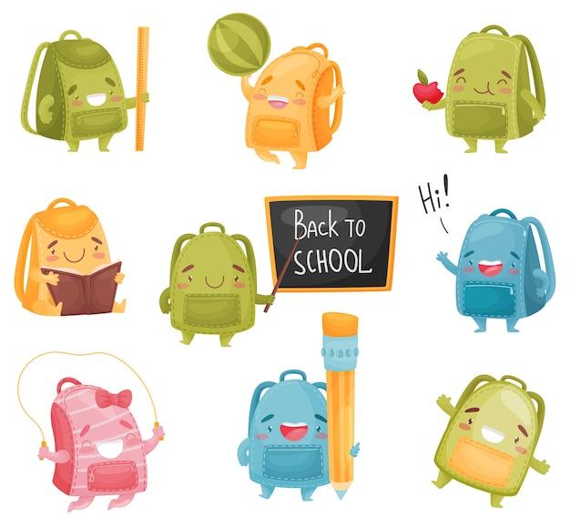 Conjunto de mochilas escolares em diferentes poses