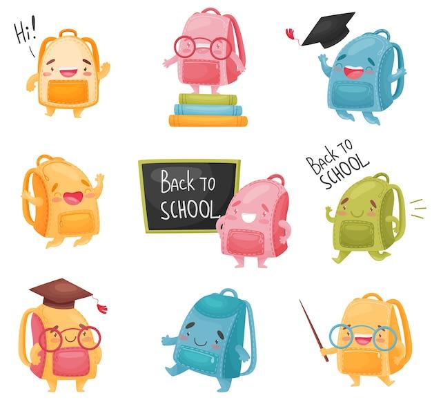 Conjunto de mochilas escolares isolado no branco