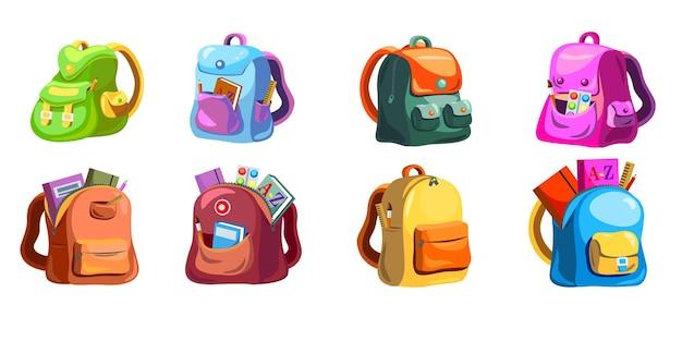 Conjunto de mochilas escolares primárias dos desenhos animados. mochilas escolares infantis com suprimentos nos bolsos abertos, sacolas coloridas e brilhantes e mochilas.