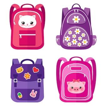 Conjunto de mochilas escolares rosa infantil