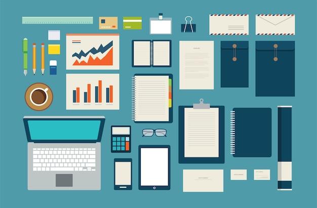 Conjunto de mock-se modelo de negócios escritório ferramenta plana design