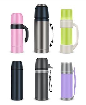 Conjunto de mock-up de garrafa térmica, ilustração realista de vetor