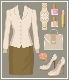 Conjunto de moda com blusa e saia