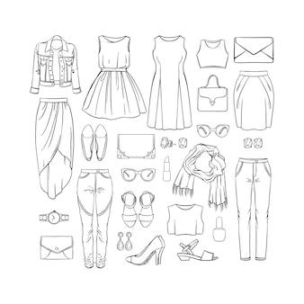 Conjunto de moda de roupas femininas. ilustração desenhada à mão