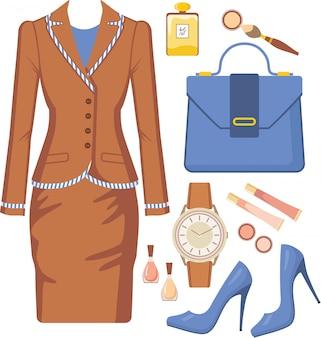 Conjunto de moda de um terno feminino, acessórios e cosméticos